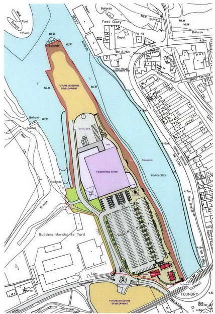 map of south quay supermarket development